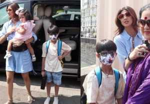 Shilpa Shetty with mother & kids spotted at Gateway of India; Watch video