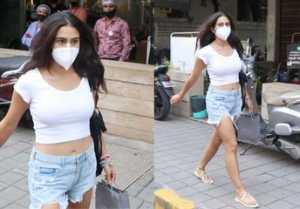 Bollywood Actress Sara Ali Khan Spotted at Salon In Bandra