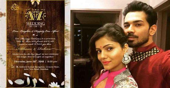 Rubina Dilaik Abhinav Shukla Wedding Here S The Reception Card Check Out Filmibeat