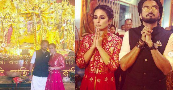 Hina Khan Rocky Jaiswal Visit At Durga Puja Pandal In Kolkata