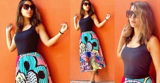 c2ba9d58c995 Hina Khan steels lime light in tank top   graffiti skirt  Check Out Here