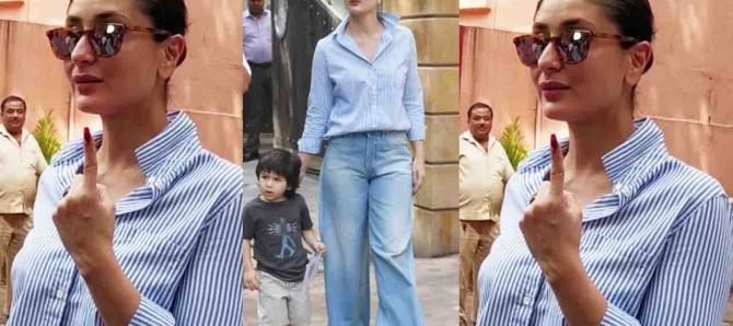 Kareena Kapoor Khan cast her vote with Taimur Ali Khan; Watch video