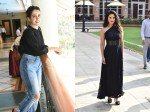 Sunny Leone Looks Stunning In Black At An Event Sanya Malhotra Promotes Photograph
