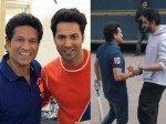 Video Varun Dhawan Abhishek Bachchan Join Sachin Tendulkar For Round Of Gully Cricket