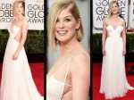 Golden Globes 2015 Rosamund Pike Skin Show Red Carpet