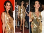 Amal Clooney Wardrobe Malfuntion Ibiza Golden Dress