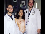 Salma Hayek Rushed To The Emergency Room Wearing Nude Women Top