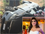 Actress Pranitha Escapes A Terrific Car Accident Unhurt