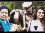 Rani Mukerji Spotted In Switzerland Yash Chopra Statue New Pictures