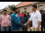 Kiccha Sudeep Visits The Sets Of Vismaya