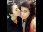 Sophie Choudry Kisses Celebrity Trainer Yasmin Karachiwala On Cheeks