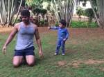 Meet Kumkum Bhagya Shabbir Ahluwalia Cute Little Workout Partner