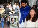 Aishwarya Rai Abhishek Amitabh Bachchan Spotted At Om Puri Prayer Meet Pictures