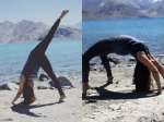 Urmila Matondkar Performing Yoga By The Sea In Pangong Himalayas