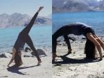 Urmila Matondkar Performing Yoga By The Sea In Pangong Himalayas