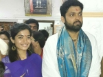 Rakshit Shetty And Rashmika Mandanna Seen In Mantralaya