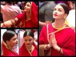 Aishwarya Rai Bachchan Visits Lalbaugcha Raja Ganapati Darsan Spotted In Red Saree Latest Pictures