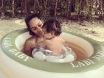 So Lovely Lisa Haydon Baby Pool Time With Her Son Zack
