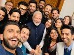 Pm Narendra Modi Selfie With Ranbir Kapoor Alia Bhatt Ranveer Singh Karan Johar Delhi Pic