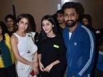 Vicky Kaushal Sara Ali Khan Ananya Pandey Pose For Pictures At Sonchiriya Screening