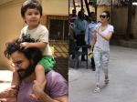 Taimur Looks Happy Getting Piggy Back Ride On Dad Shoulders Malaika Arora Snapped After Gym