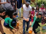 Aindrita Ray Celebrates First Birthday After Marriage With Diganth By Planting Trees