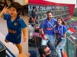 Taimur Cheers For Team India In Blue Jersey Dad Saif Watches India Vs Pak Match Reel Daughter