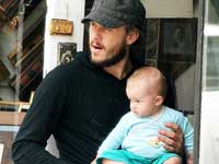 Heath Ledger with his baby daughter