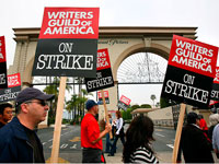 A scene from the ongoing Writers strike
