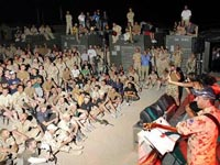 Tania Zaetta entertaining the troops in Afghanisthan