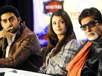 Aishwarya Abhishek and Amitabh at the press conference