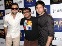 Abhay Deol, Emraan Hashmi with co-producer Dibakar Banerjee