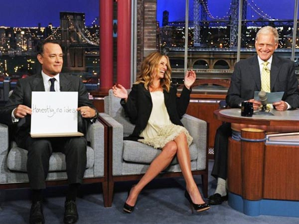 Julia Roberts, Tom Hanks and David Letterman