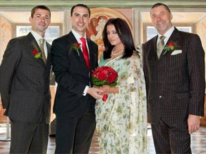 Celina Jaitley with Peter Hagg, father-in-law and brother-in-law