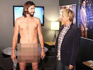 Ashton Kutcher strips naked on Ellen DeGeneres show
