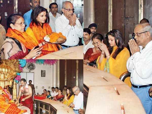 Aishwarya Rai Bachchan with parents at the Siddhivinayak Temple
