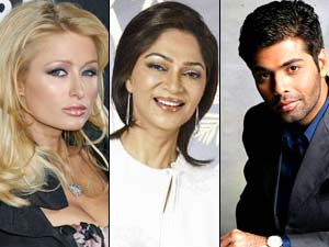 Karan Johar, Simi Garewal and Paris Hilton