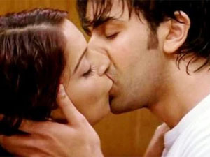 Ranbir kissing Nargis in Rockstar