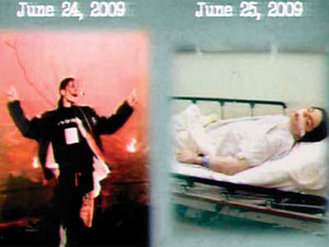 The picture of a dead Michael Jackson in hospital (right) and the show