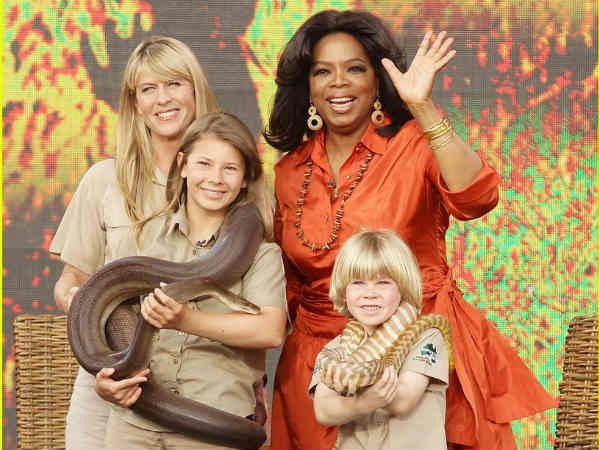 Oprah Winfrey with Terri Irwin and her children