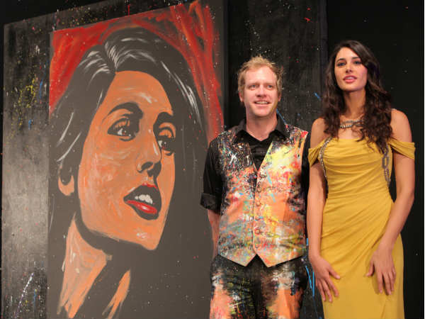 Nargis Fakhri, Brian Olsen and his painting at 'Chivas Art'