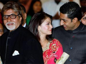 Aishwarya and Abhishek with Amitabh