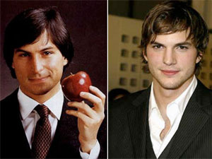 Steve Jobs and Ashton Kutcher