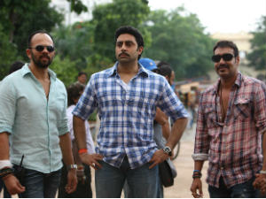 Rohit Shetty, Abhishek Bachchan and Ajay Devgn on Bol Bachchan sets