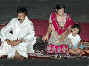Chiranjeevi, his daughter Sushmita and his granddaughter