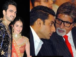 Abhishek and Amitabh Bachchan at Esha Deol's Marriage