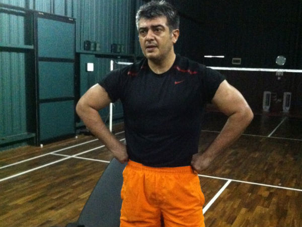Picture: Ajith sweating it out