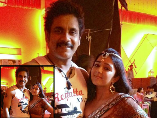 Charmi with Nagarjuna
