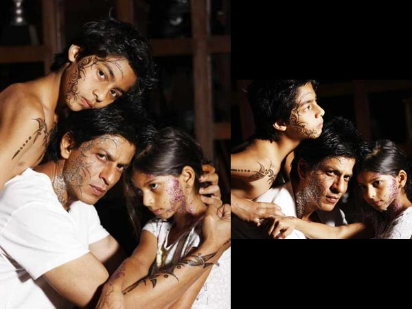 shahrukh with kids when shahrukh khan and his kids got a henna tattoo    Shahrukh Khan Kids Age