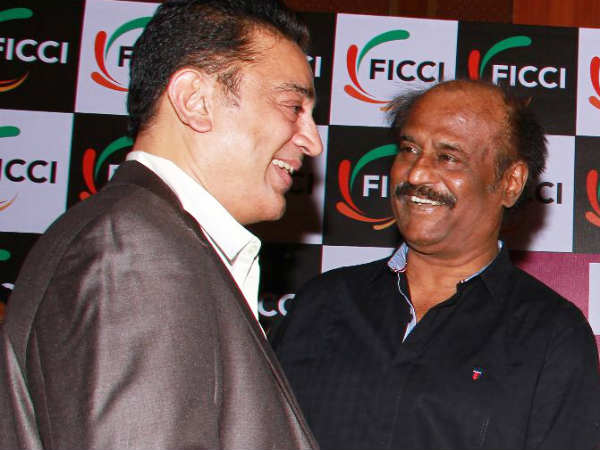 Kamal sharing A Light Moment With Rajini